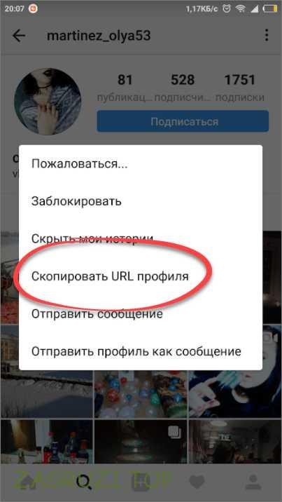 Копируем ссылку в instagram